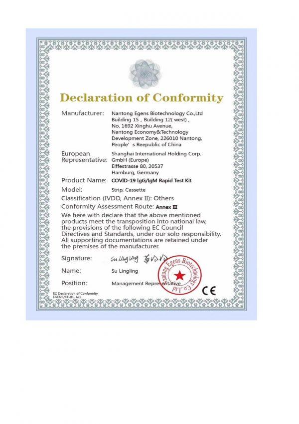 CE certifikát covid test 2 ks